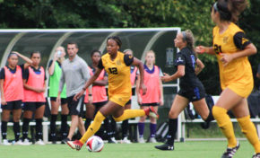 Baker and Harris score twice as soccer splits matches to begin season